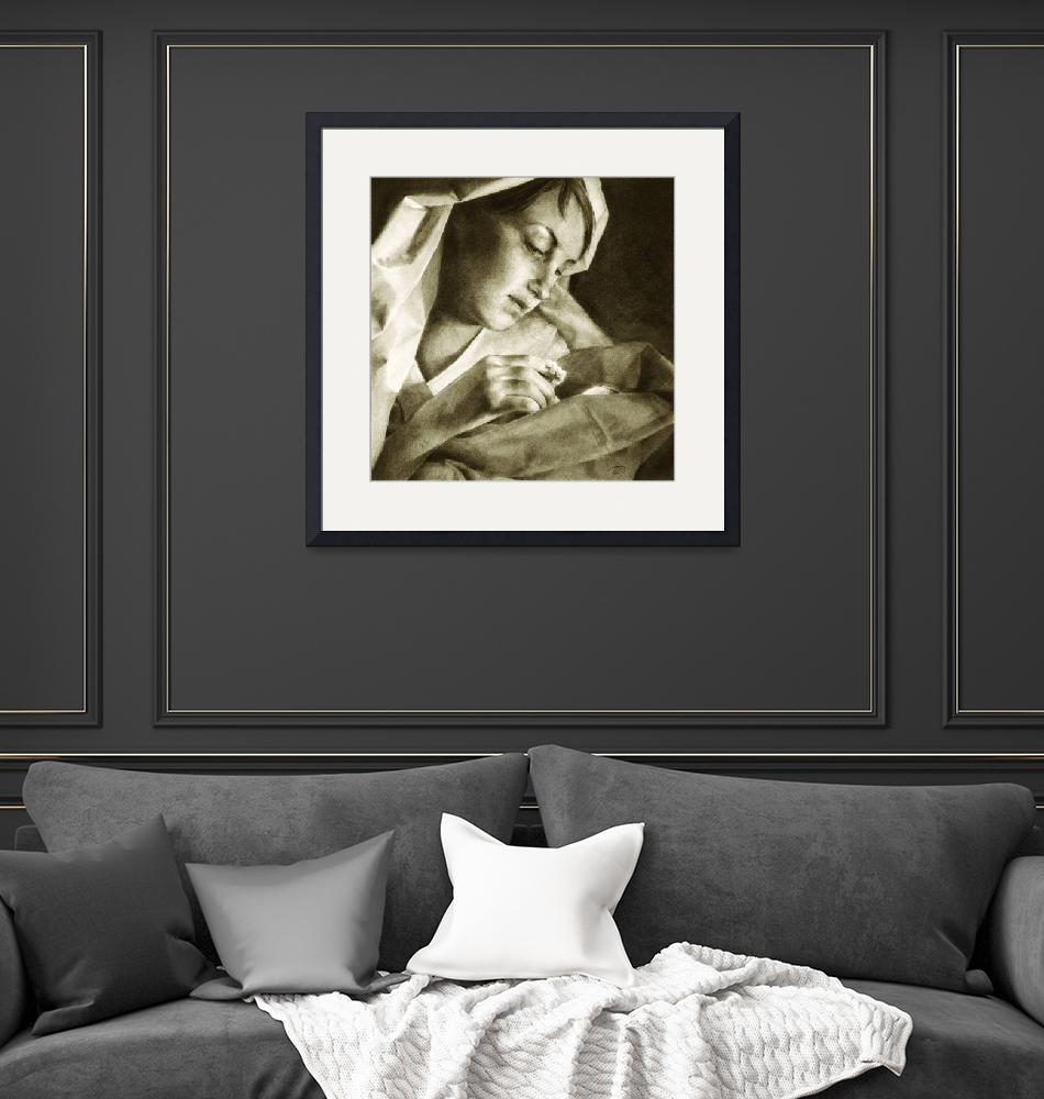 """""""Mary and Baby Jesus / Christmas in sepia""""  (2004) by StapleyArts"""