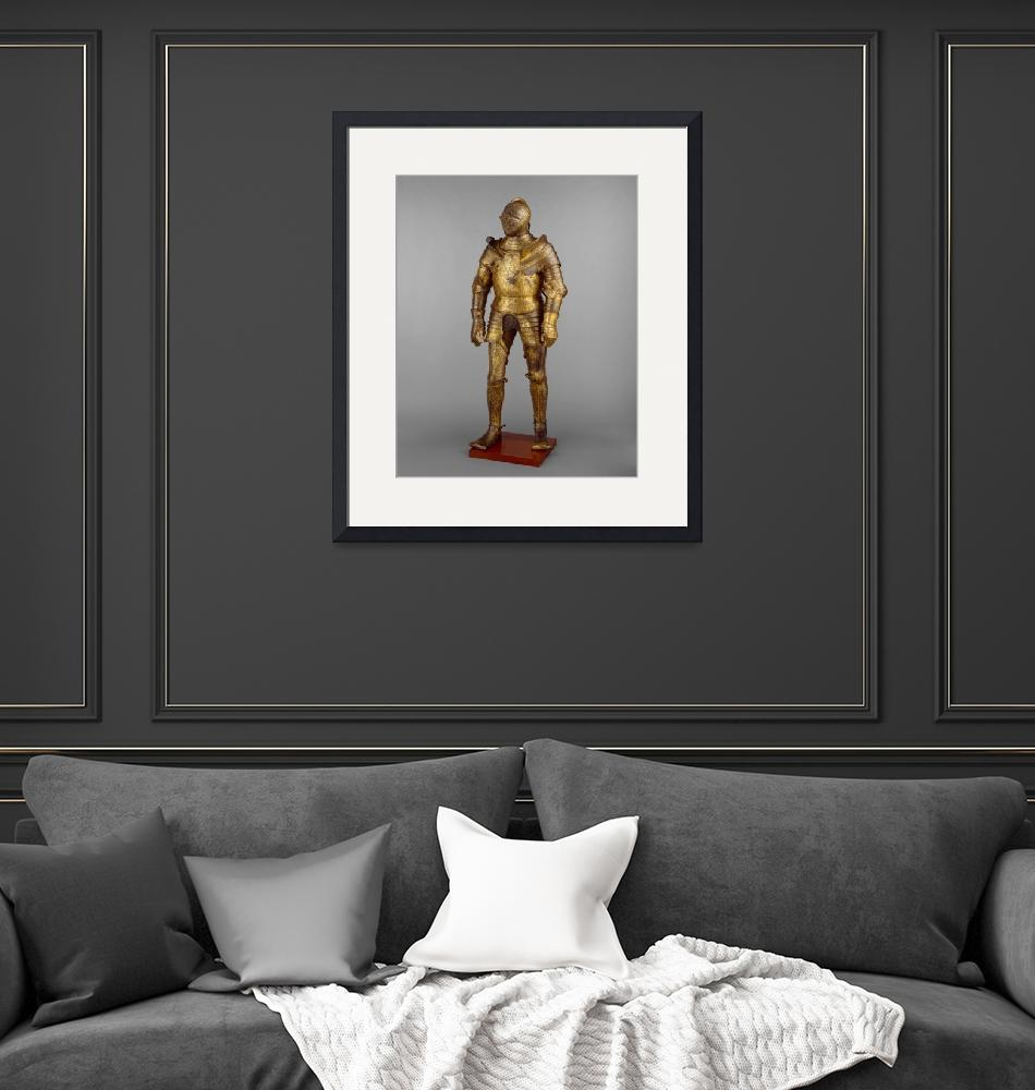 """""""Vintage Golden Knight Armor Photograph (1527)""""  by Alleycatshirts"""