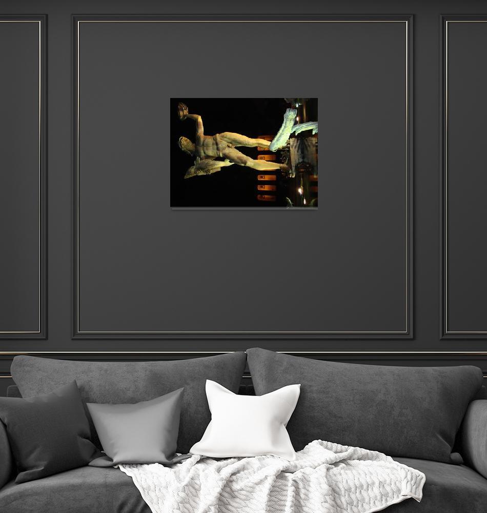 """Poseidon Statue at Night""  (2008) by kaminel"