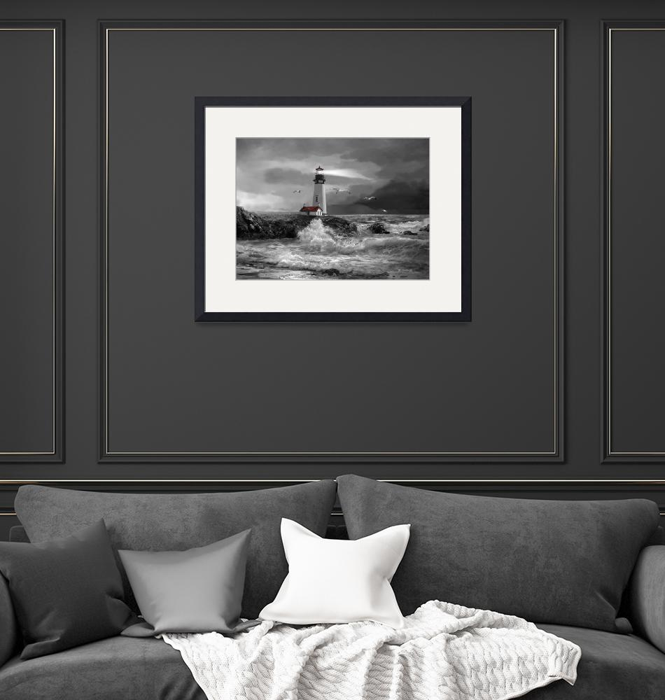 """Seascape with Yaquina lighthouse in black and whit""  (2014) by Unique_designs"
