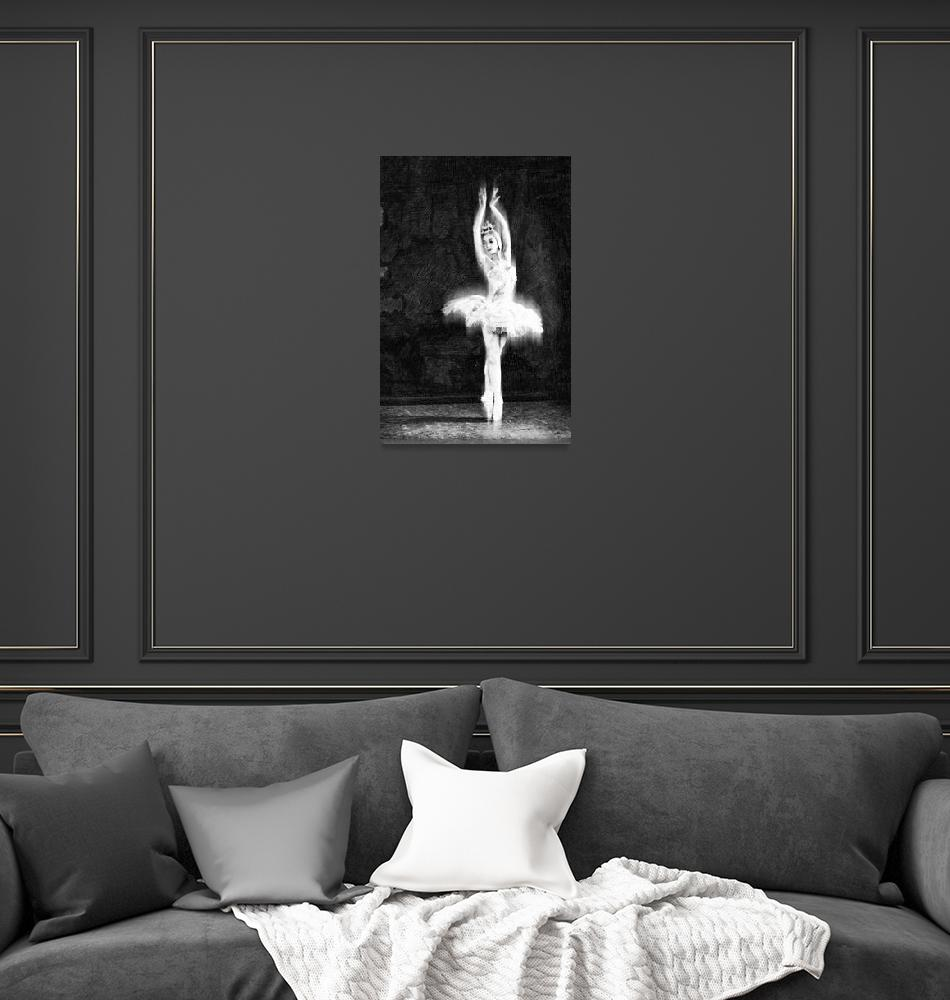 """Ballet Dancer Extended Black and White""  (2014) by RubinoFineArt"