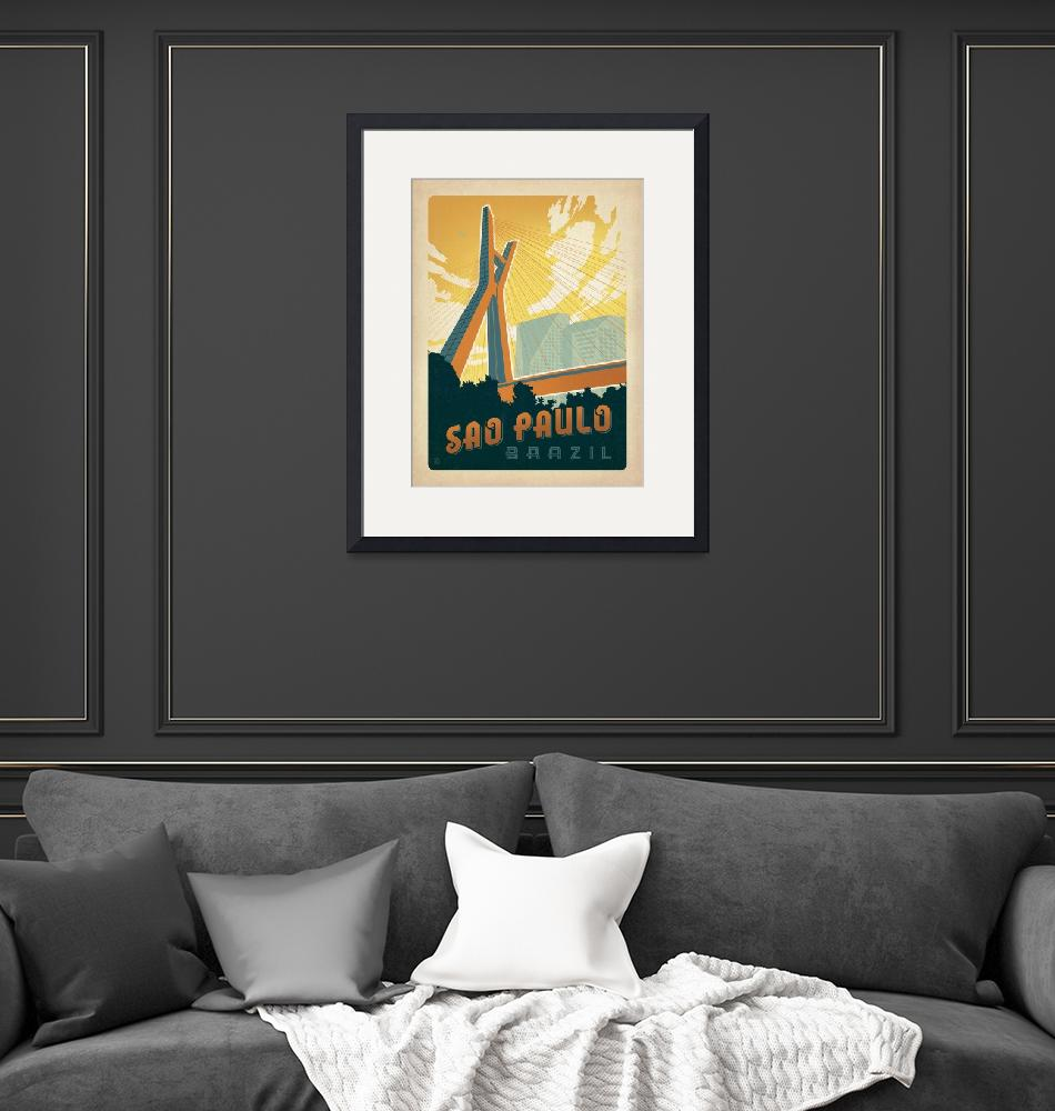 """""""Sao Paolo, Brazil Retro Travel Poster""""  by artlicensing"""