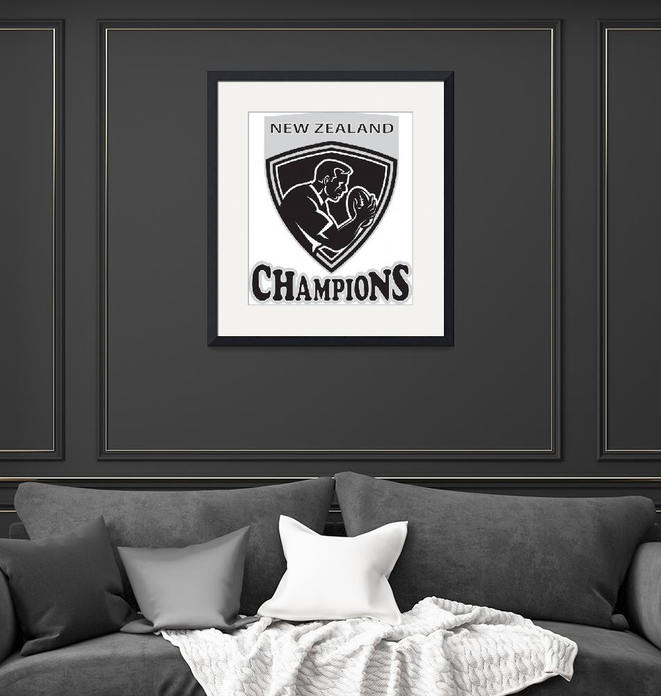 """""""Rugby player New Zealand Champions shield""""  (2013) by patrimonio"""