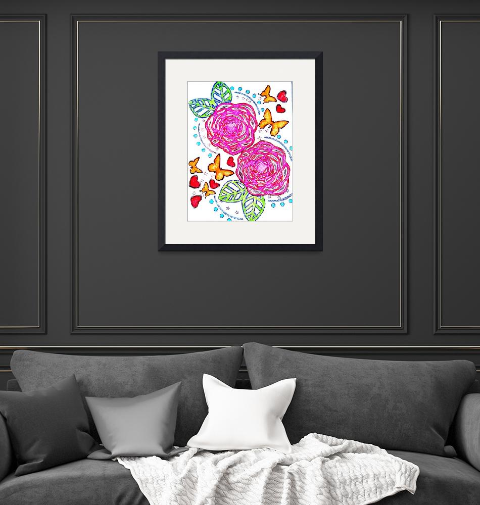 """""""Roses and butterflies""""  (2015) by KellybeanKreations"""