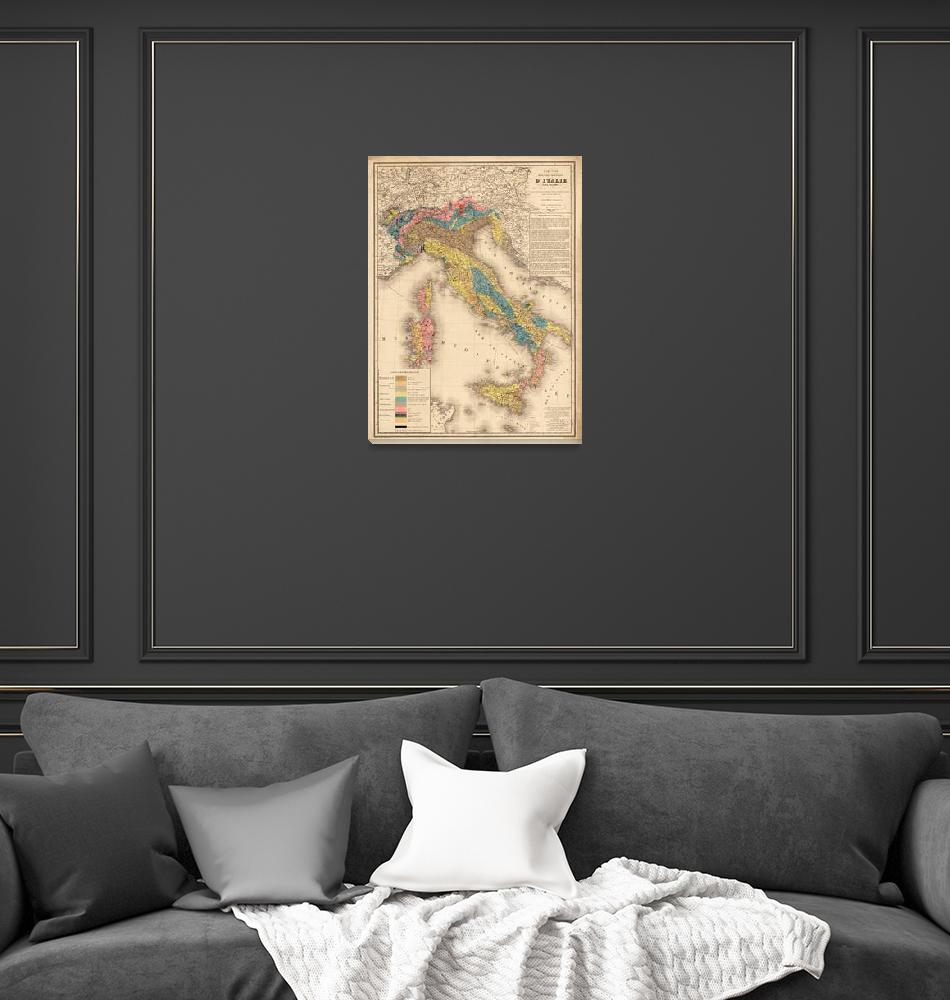 """""""Vintage Italy Geology Map (1844)""""  by Alleycatshirts"""