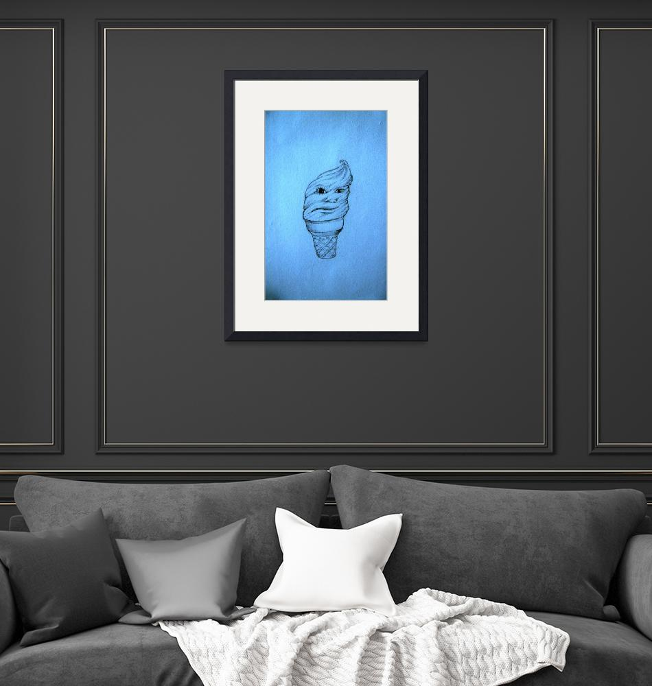 """""""Face-Cream-Cone in blue""""  (2008) by AbrahamJ"""