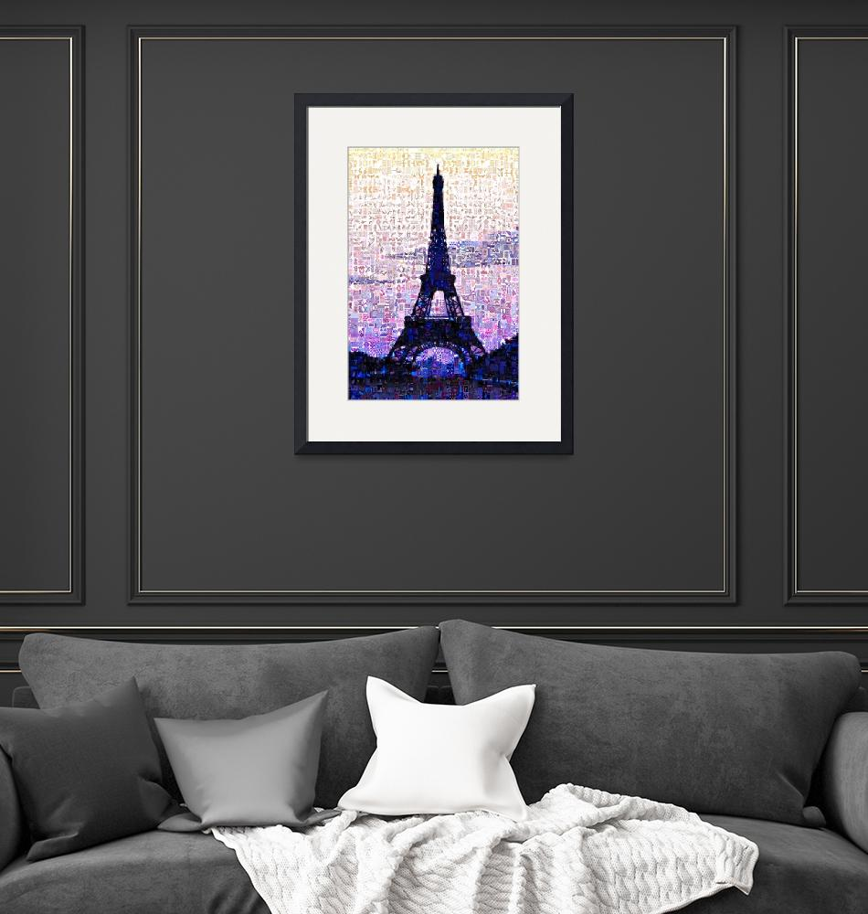 """Eiffel Tower At Sunset Digital Mosaic""  (2014) by DigitalMosaics"