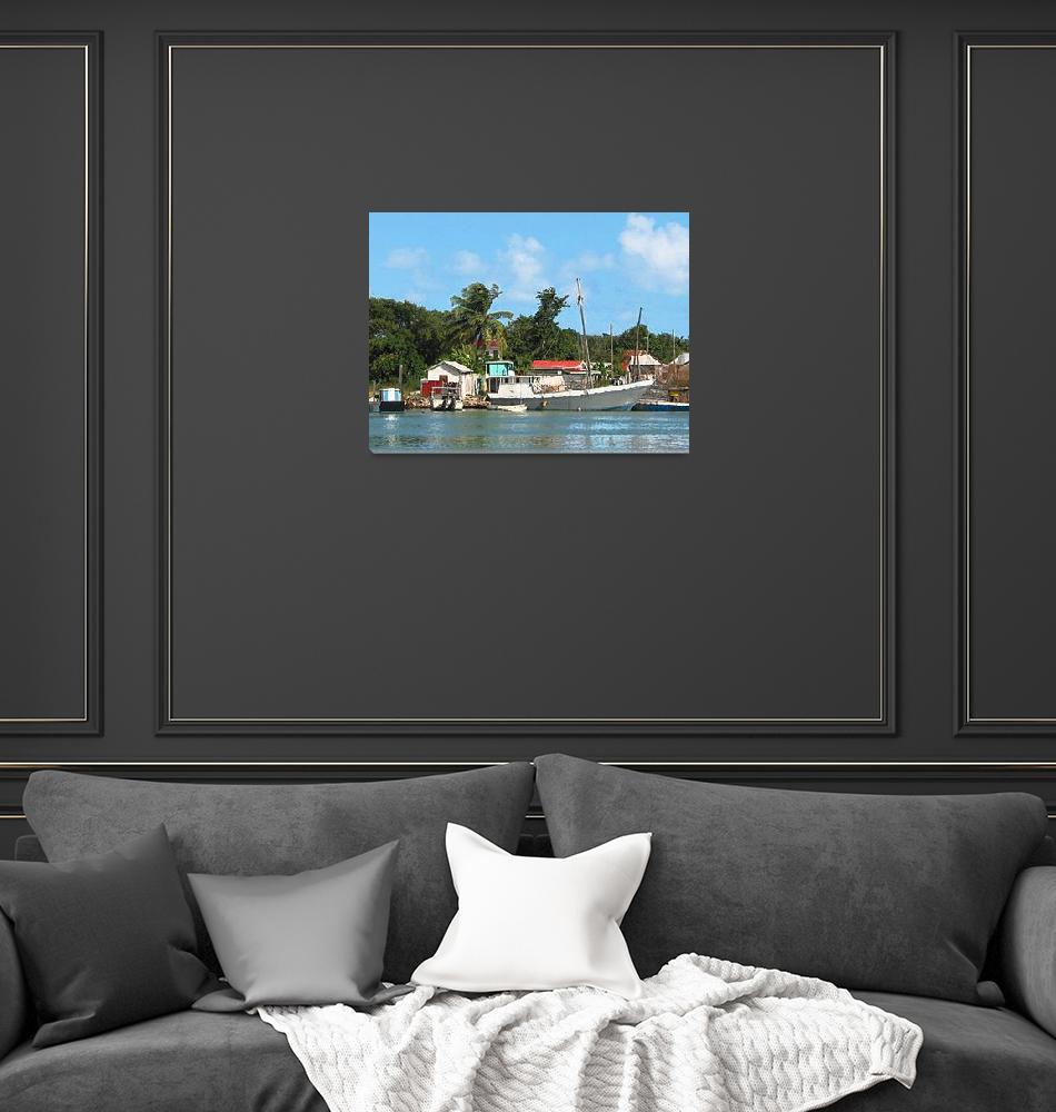 """""""Docked Boats Antigua""""  (2002) by susansartgallery"""
