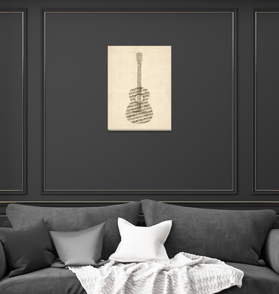 """Acoustic Guitar Old Sheet Music""  by ModernArtPrints"