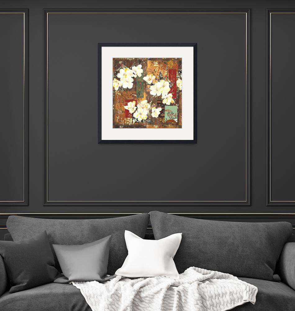 """""""white flowers and patchwork""""  by LauraKHall"""