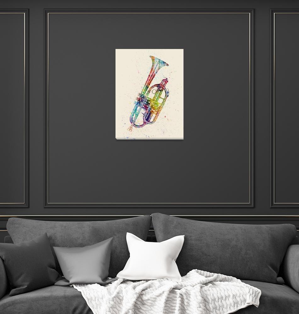 """Cornet Abstract Watercolor""  (2016) by ModernArtPrints"
