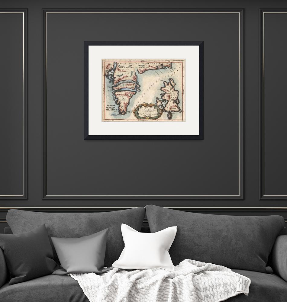 """""""Vintage Map of Greenland and Iceland (1694)""""  by Alleycatshirts"""