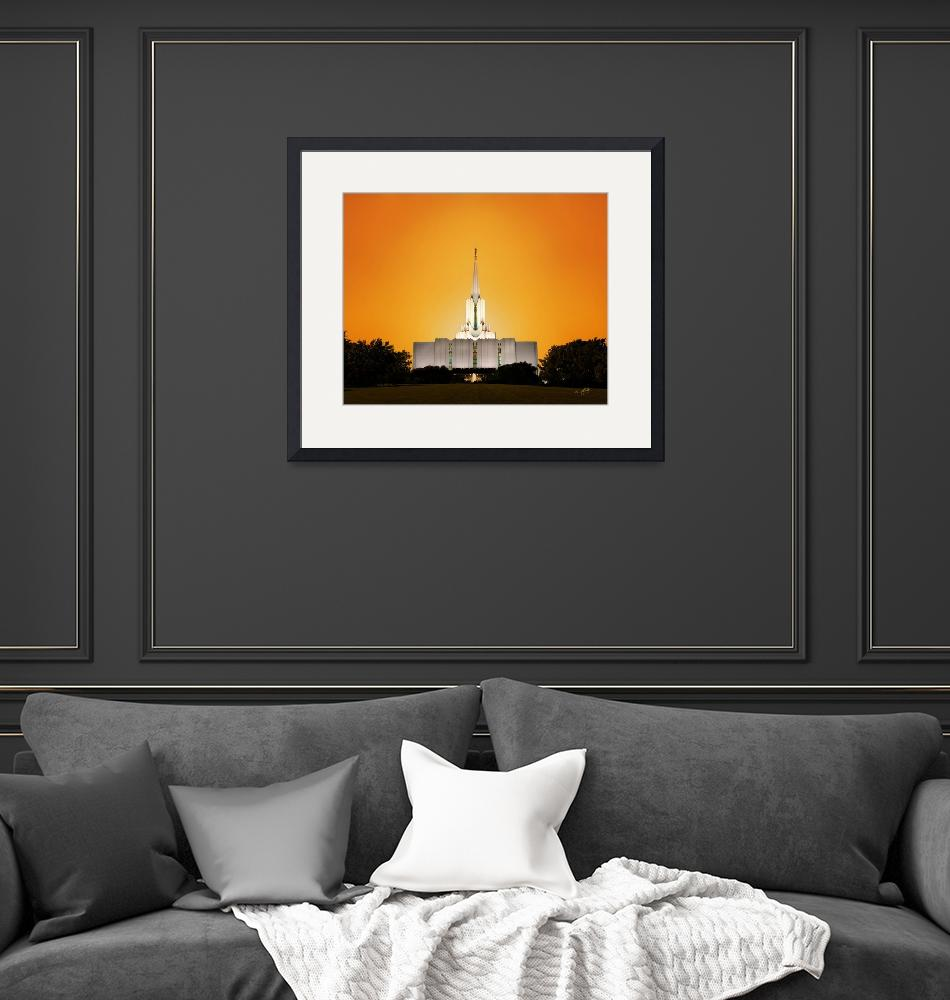 """""""20x24 Yellow Sunset Jordan River Temple""""  by lightvoyages"""