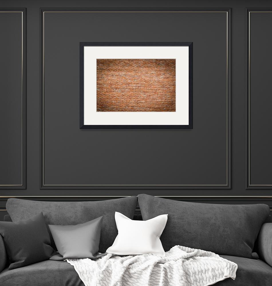 """""""Red brick wall texture with vignetted corners""""  (2017) by creative_photography"""