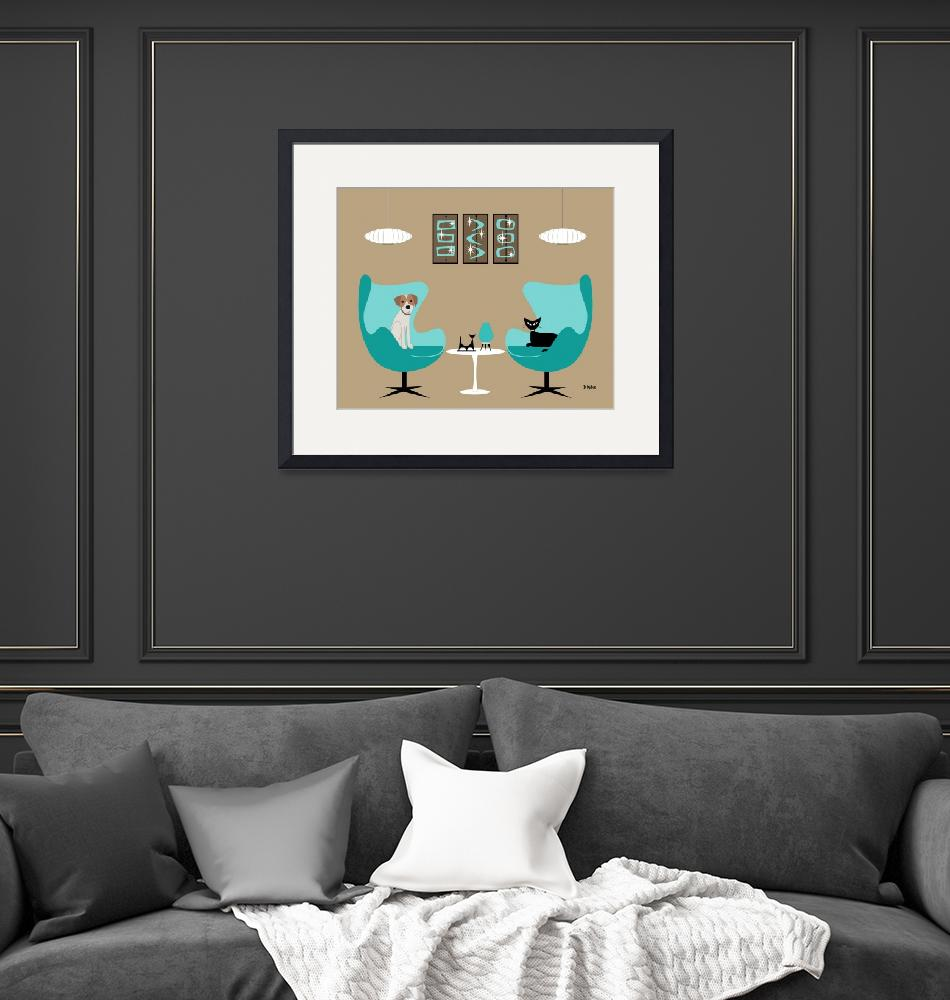 """""""Mid Century Egg Chairs with Dog and Cat""""  by DMibus"""