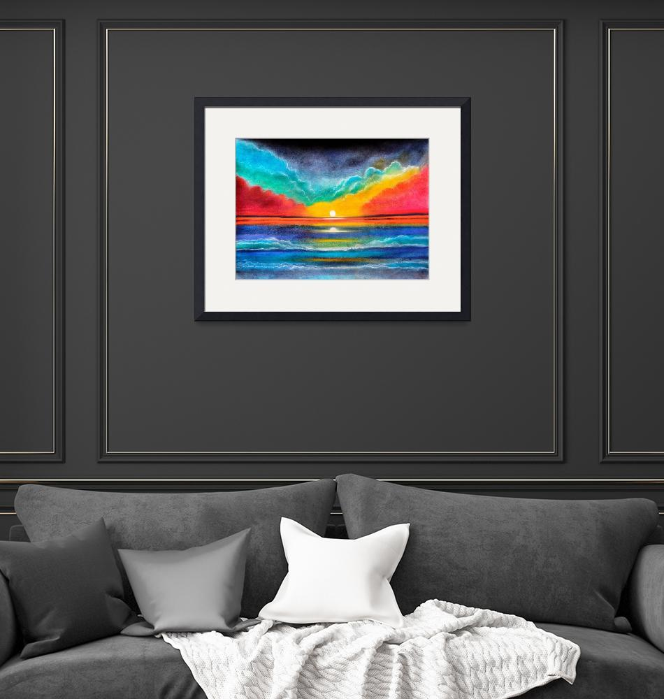 """""""Ocean sunset colorful pastel painting on sale"""" (2021) by mkanvinde"""