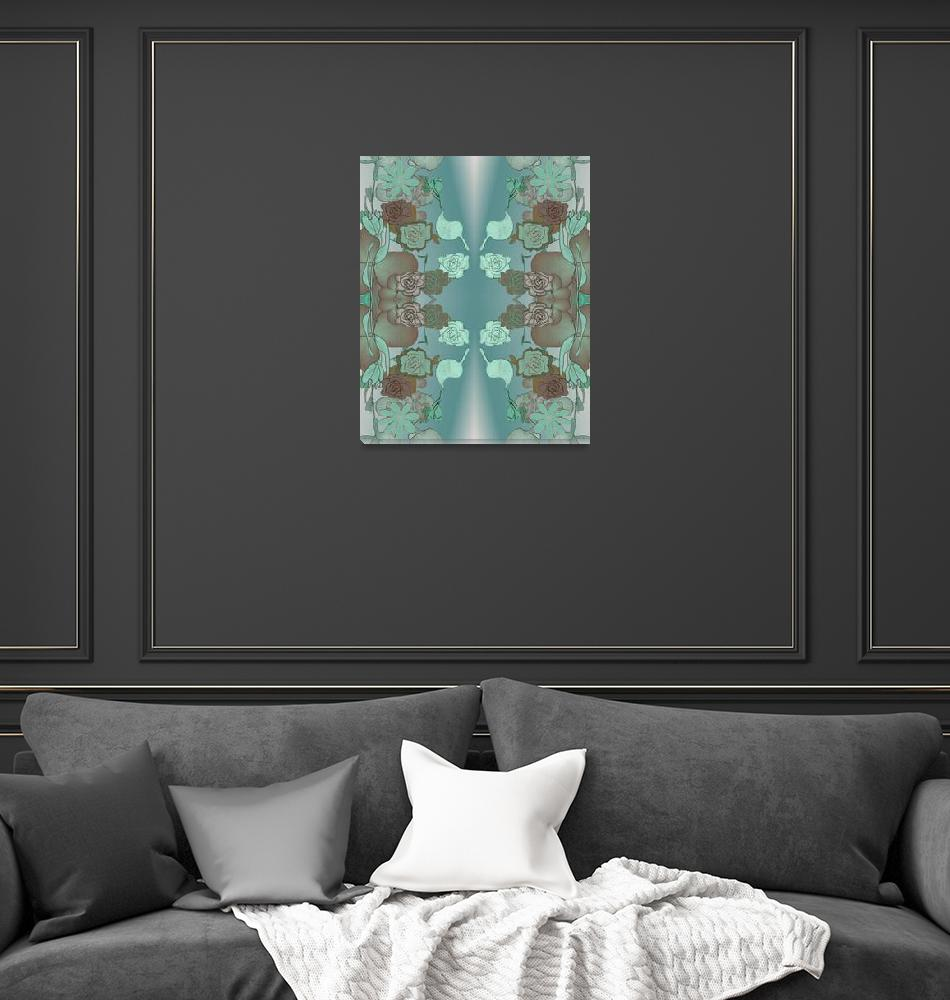 """""""Squash Blossom Turquoise Pattern, textile""""  (2008) by DMelfi"""
