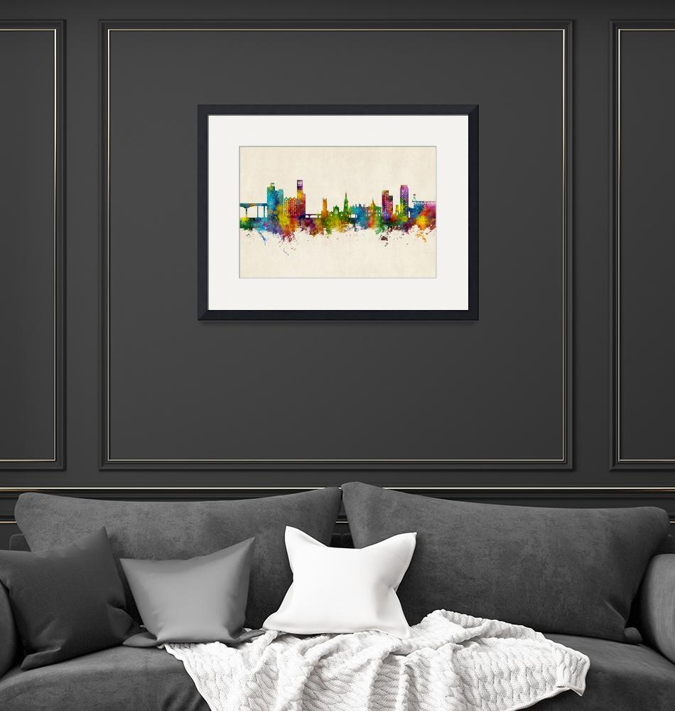 """Ipswich England Skyline""  (2020) by ModernArtPrints"