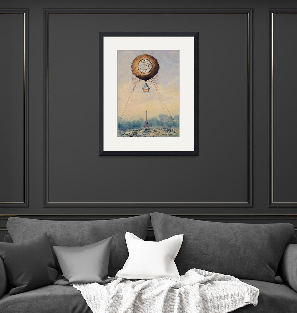 """Captive Balloon with Clock Face by Camille Gravis"" by FineArtClassics"
