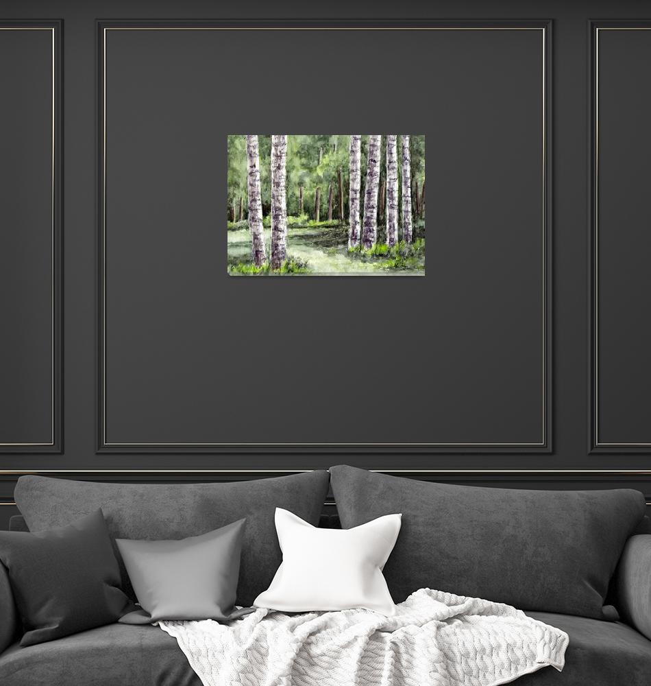 """""""Birch Tree Watercolor  Landscape""""  (2008) by waterart"""