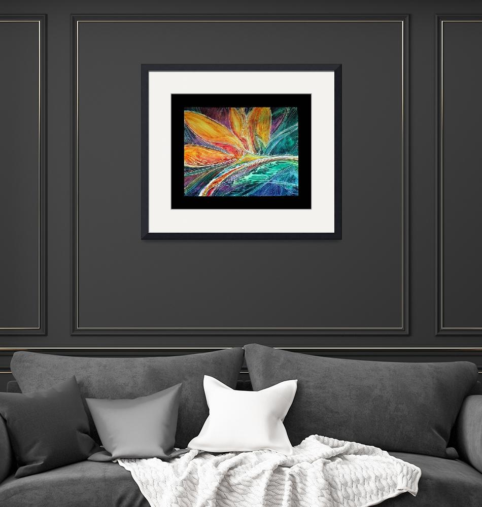 """""""BIRD of PARADISE ABSTRACT in BATIK""""  (2011) by MBaldwinFineArt2006"""
