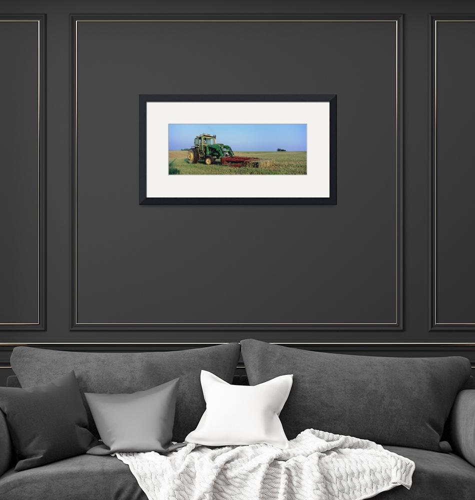 """""""Tractor in a hay field""""  by Panoramic_Images"""