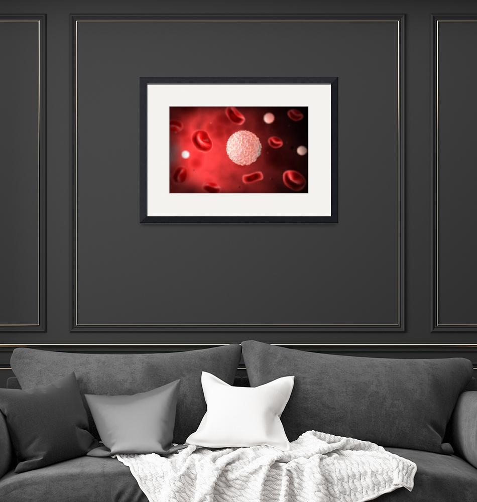 """Microscopic view of white blood cells inside blood""  by stocktrekimages"