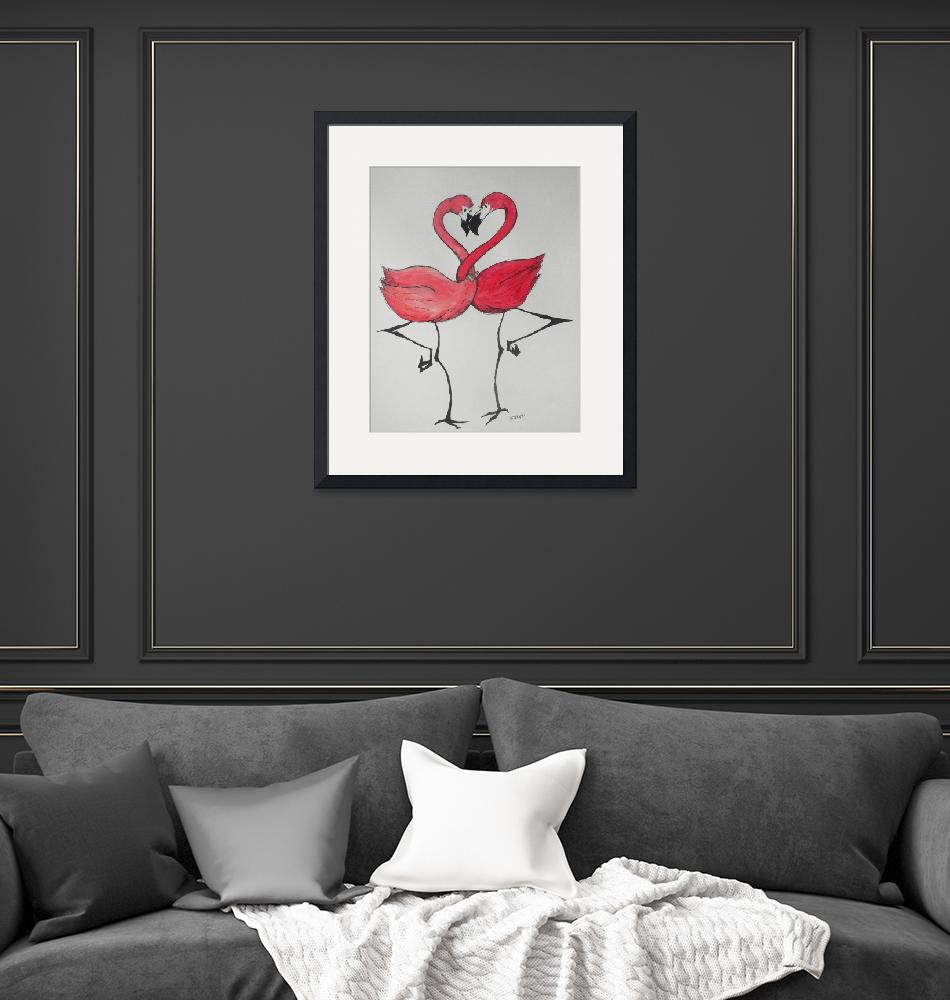 """Flamingos in Love""  (2012) by MichaelBPatterson"
