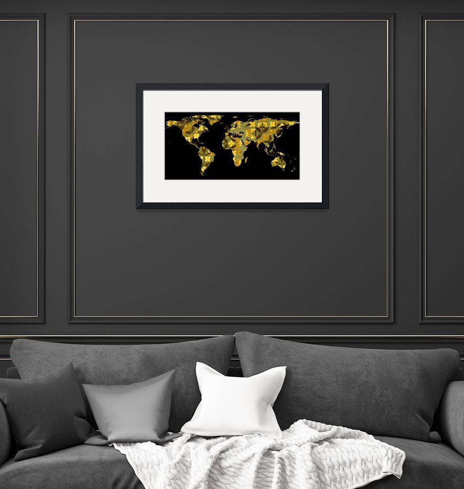 """World Map Silhouette - Yellow Flower Pattern""  by Alleycatshirts"