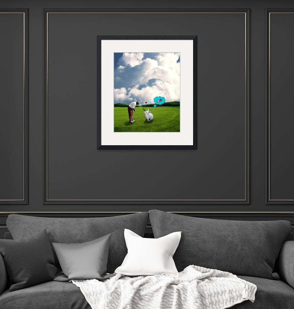 """""""Rabbits can not concentrate on golf""""  (2010) by TamasOlejnik"""
