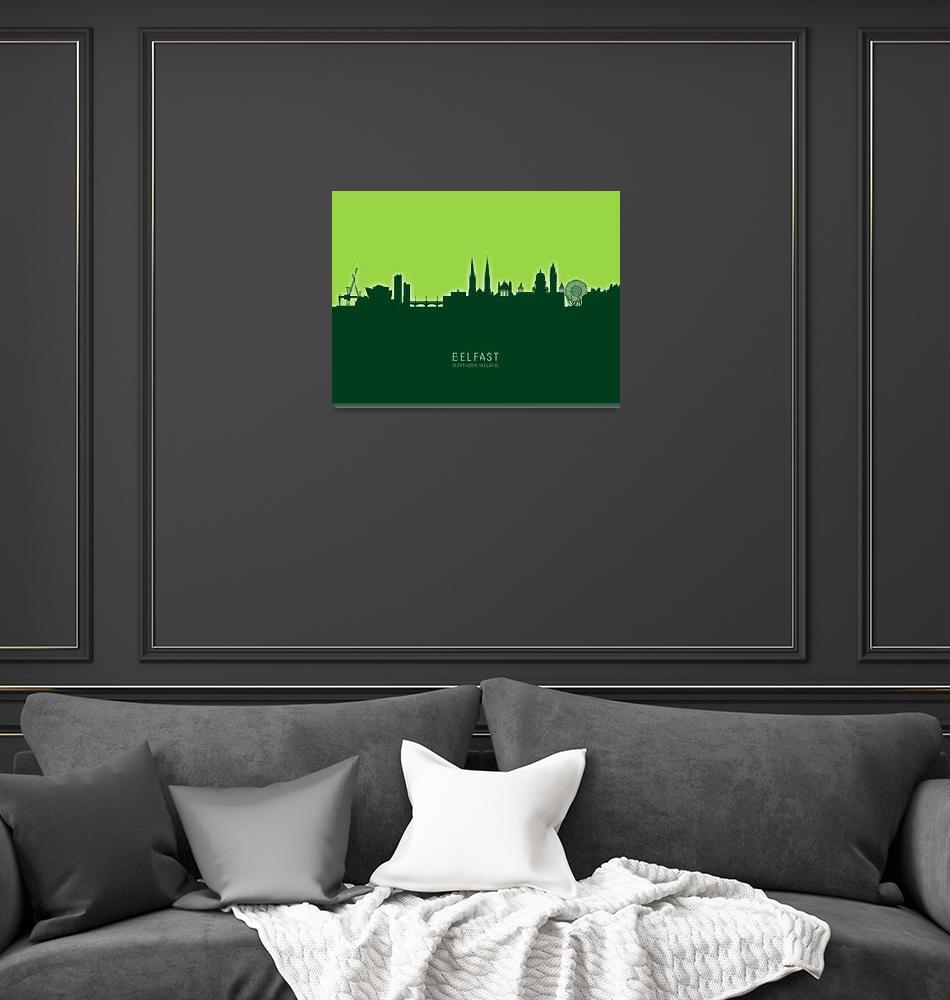 """Belfast Northern Ireland Skyline""  (2020) by ModernArtPrints"
