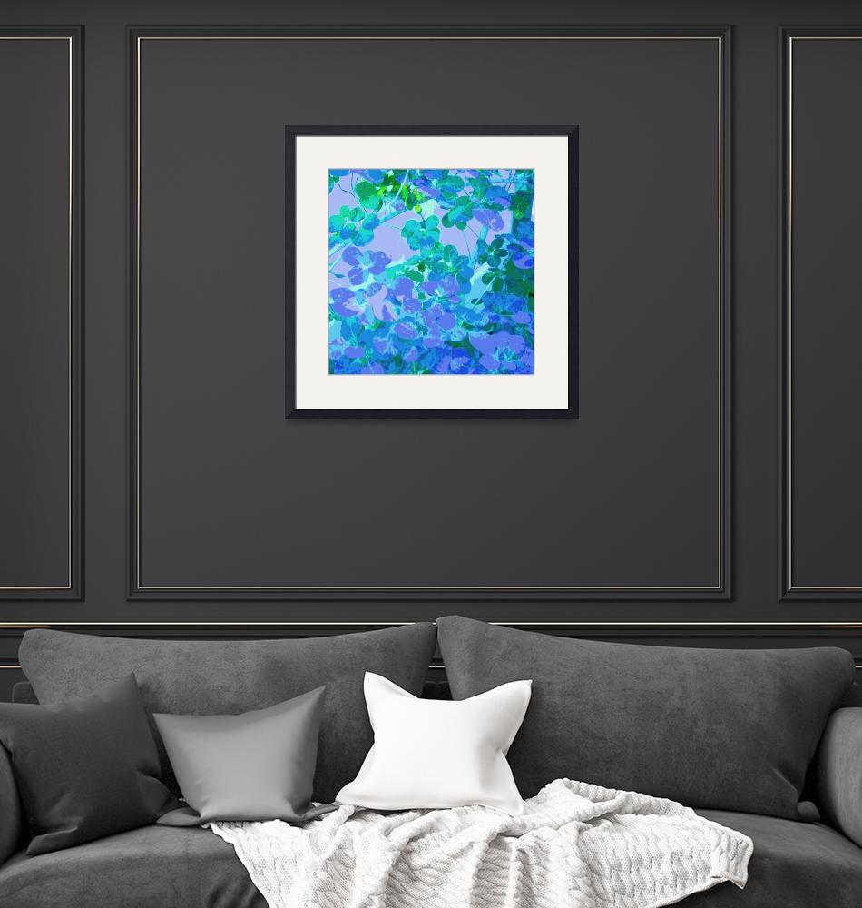 """""""Blue and Lavender Leaves Square""""  (2008) by LeslieTillmann"""