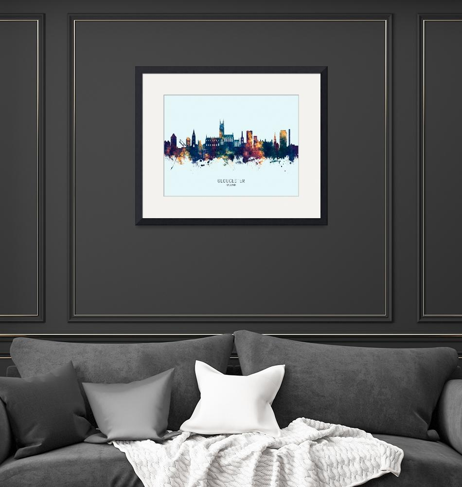 """Gloucester England Skyline""  (2019) by ModernArtPrints"