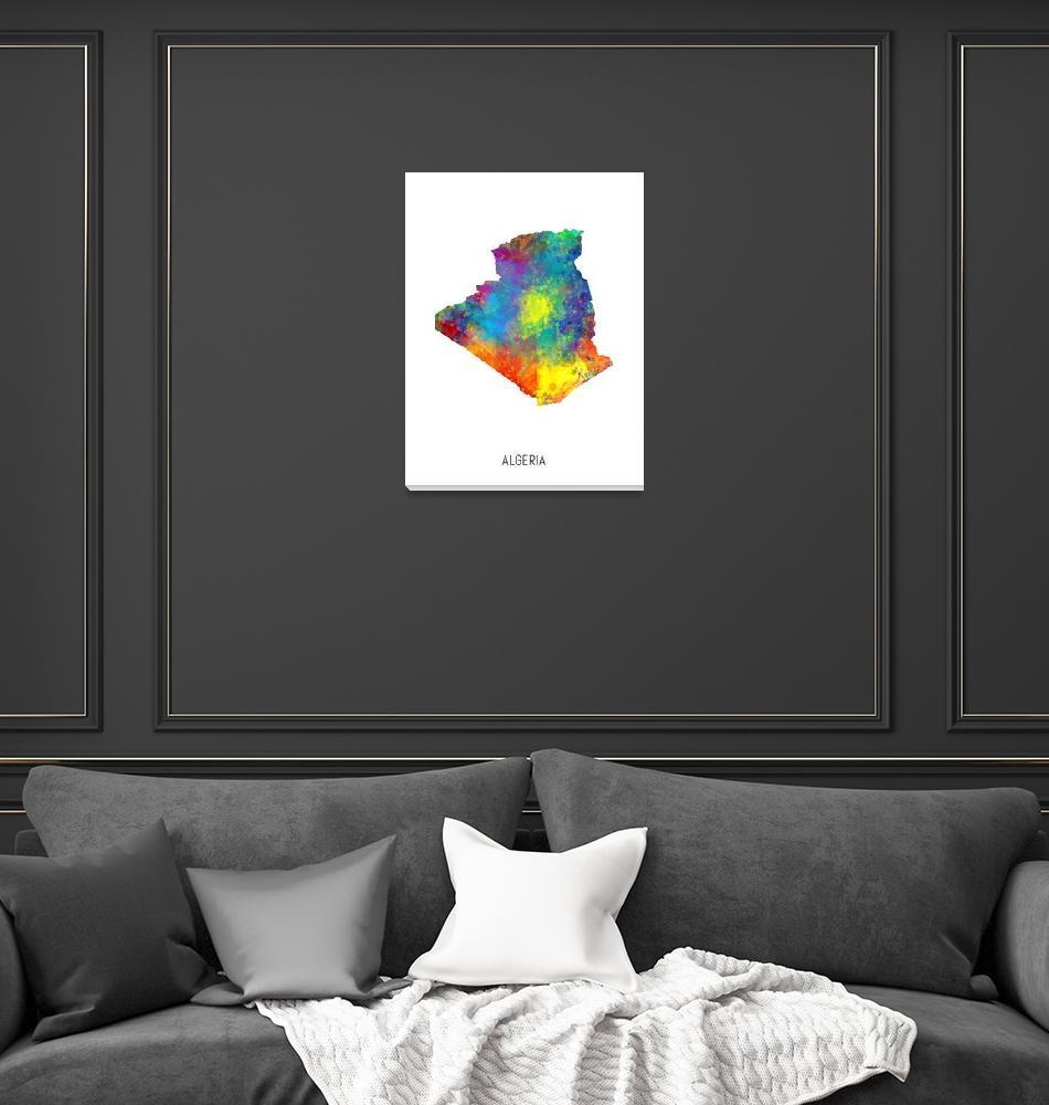 """Algeria Watercolor Map""  (2019) by ModernArtPrints"