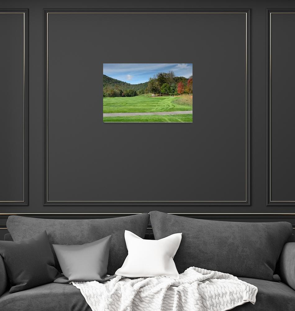 """""""Golf Fairway Fall Foliage View""""  (2015) by ClaireT"""