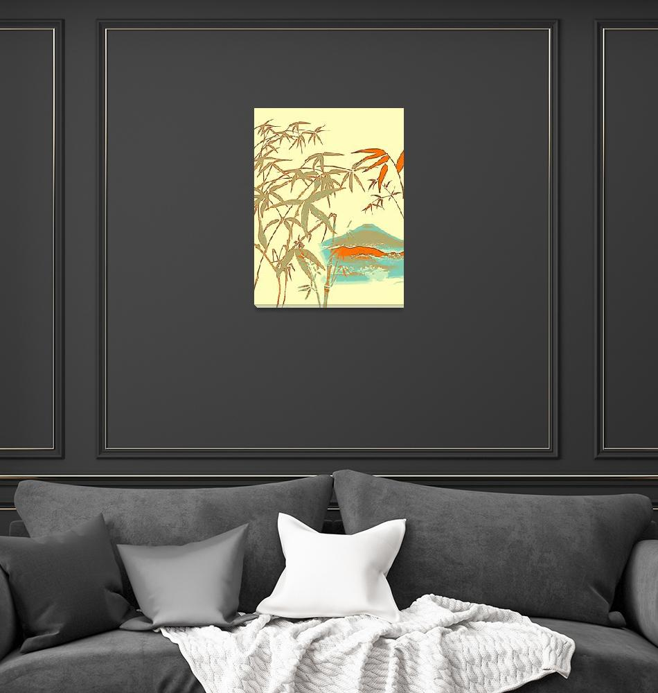 """""""Mt Fiji View from Bamboo Forest Poster""""  by motionage"""