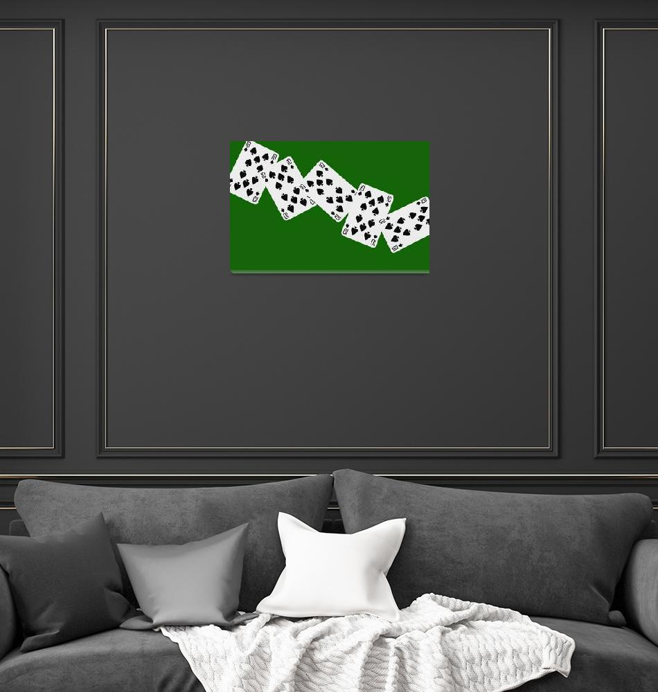 """""""Playing Cards Ten of Spades on Green Background""""  by NatalieKinnear"""