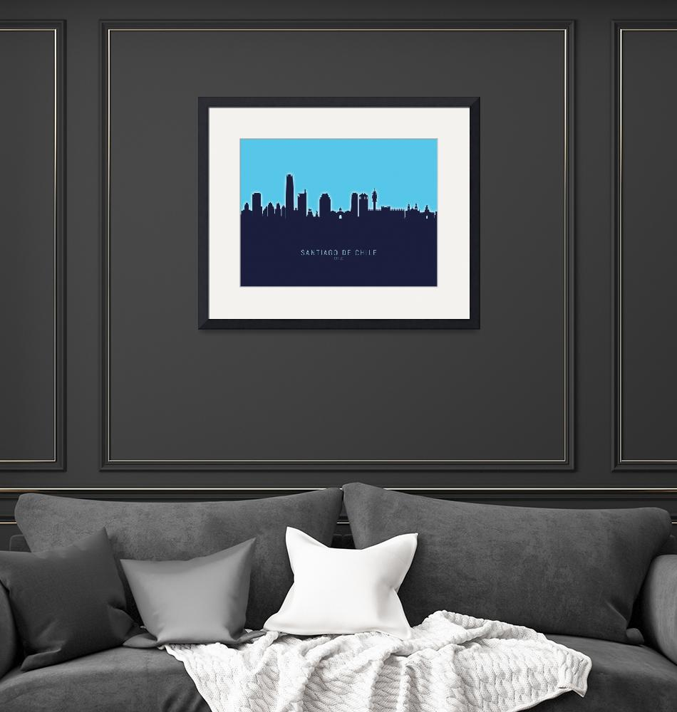 """Santiago de Chile Skyline""  (2020) by ModernArtPrints"