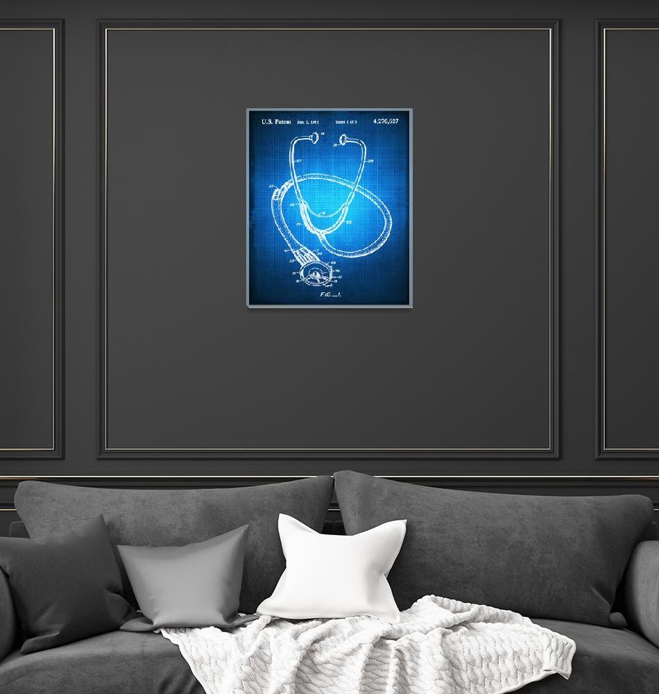 """""""Doctor Stethoscope 1 Patent Blueprint Drawing""""  (2018) by RubinoFineArt"""