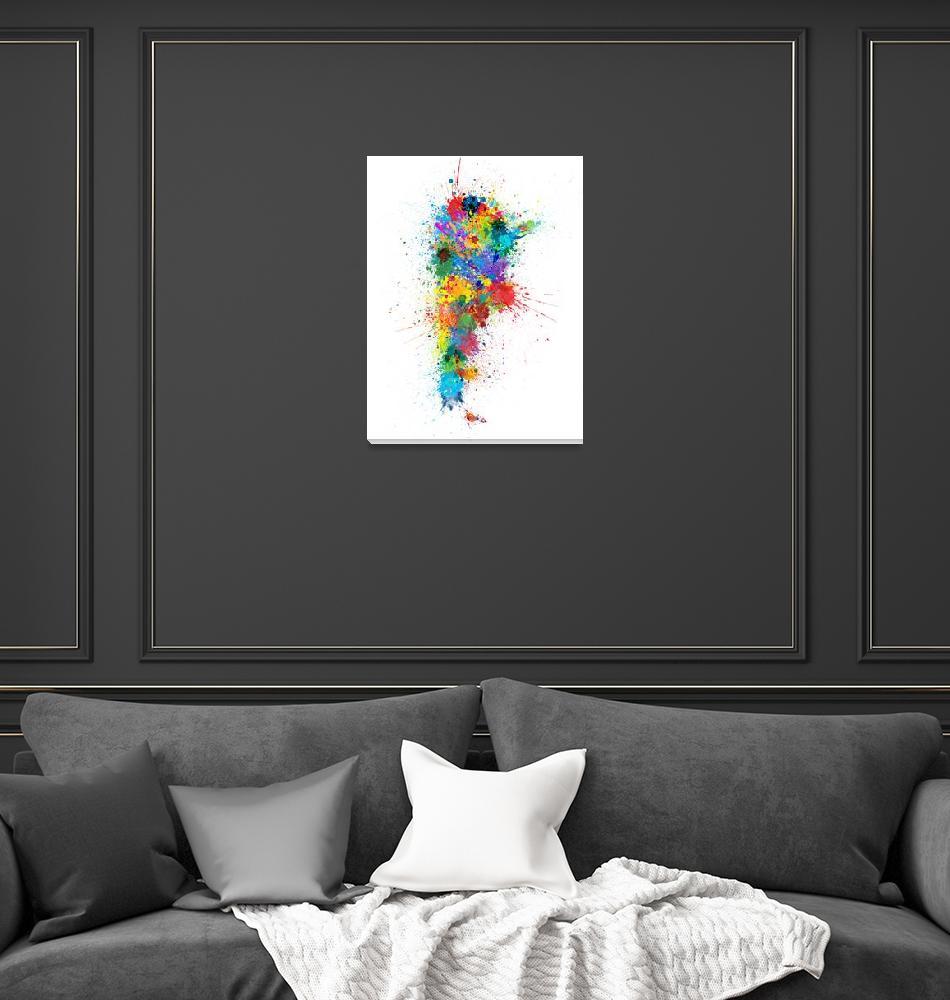 """Argentina Paint Splashes Map""  (2018) by ModernArtPrints"