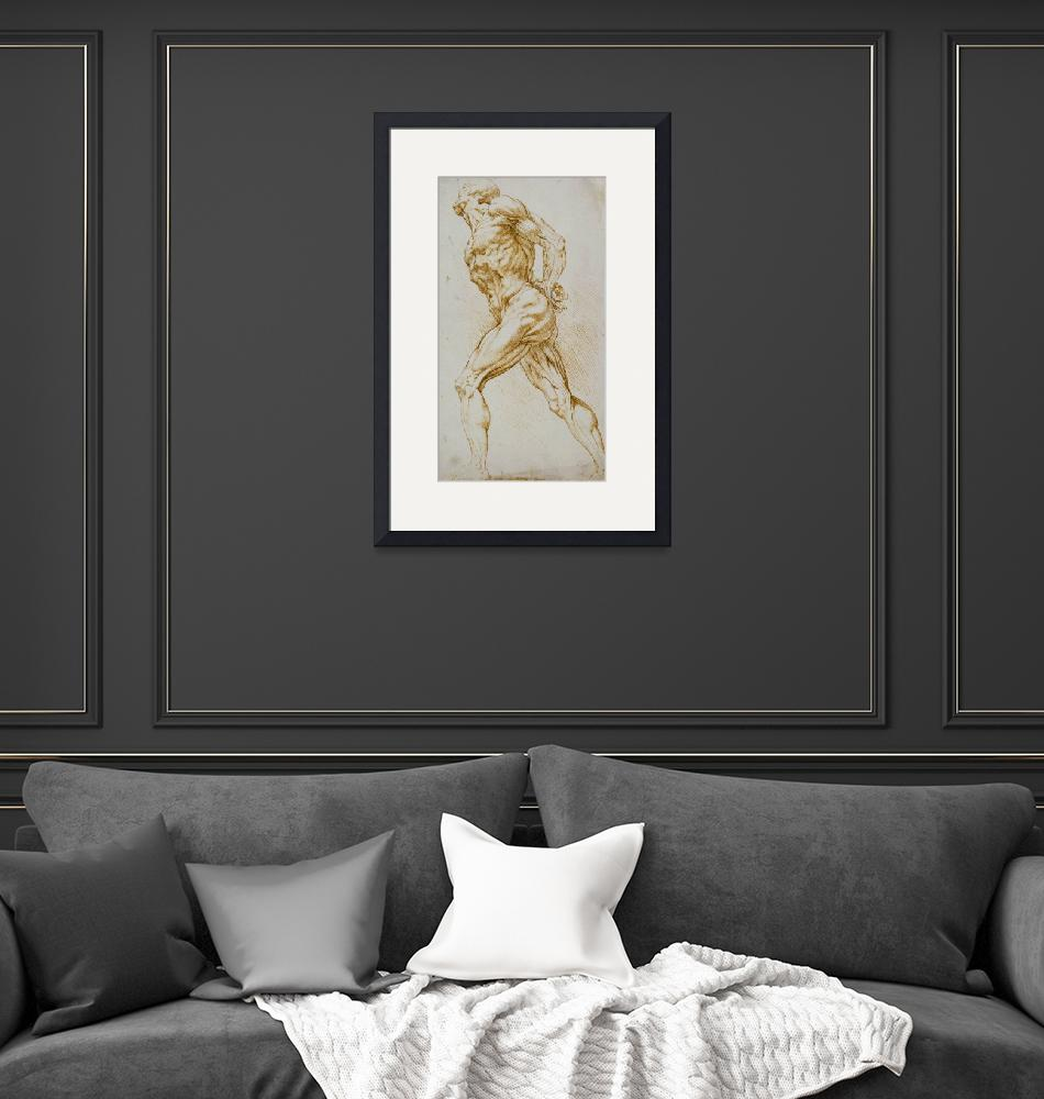 """Anatomical study: A nude striding to the right, hi""  by fineartmasters"