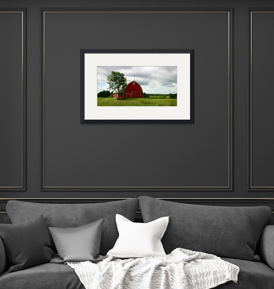 """""""Rustic Red Barn and Verdant Green Fields""""  (2015) by ElainePlesser"""