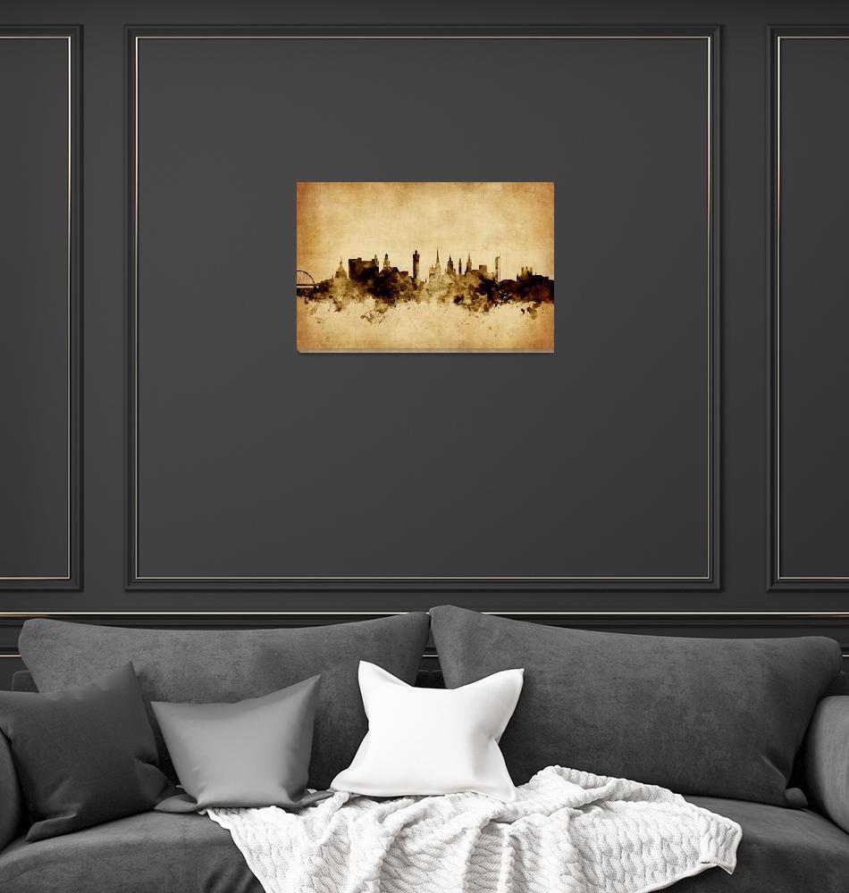 """Glasgow Scotland Skyline""  (2015) by ModernArtPrints"