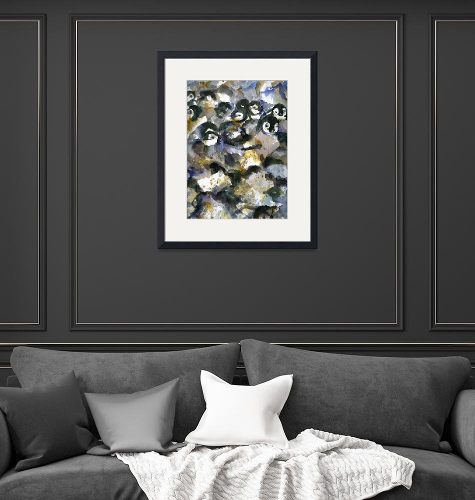 """Penguin Nursery I, Abstract Watercolor Art""  by schulmanart"