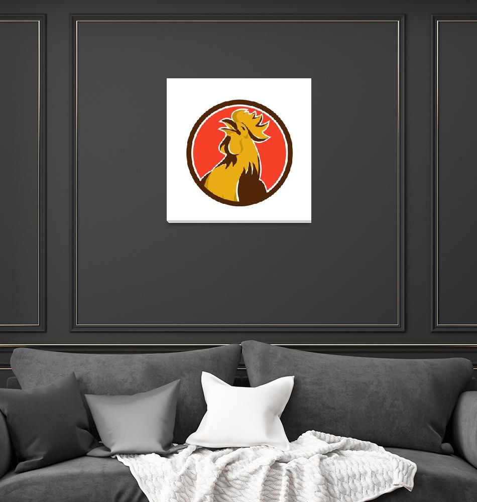 """""""Chicken Rooster Crowing Circle Retro""""  (2015) by patrimonio"""