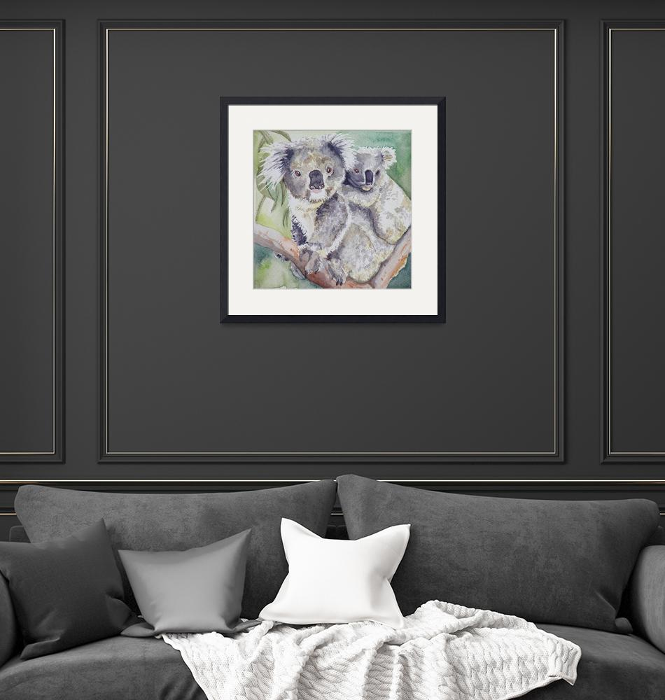 """""""Koala with Baby""""  (2007) by helengould"""