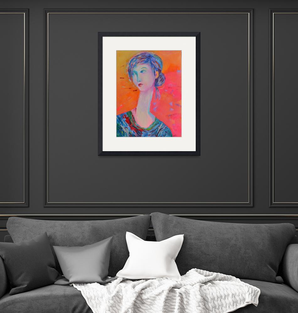 """Woman Portrait Girl Modigliani Style Living Room""  (2016) by Maggy"