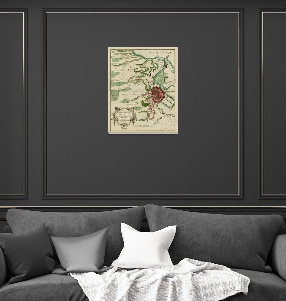"""Vintage Dantzig Poland Map (1784)""  by Alleycatshirts"