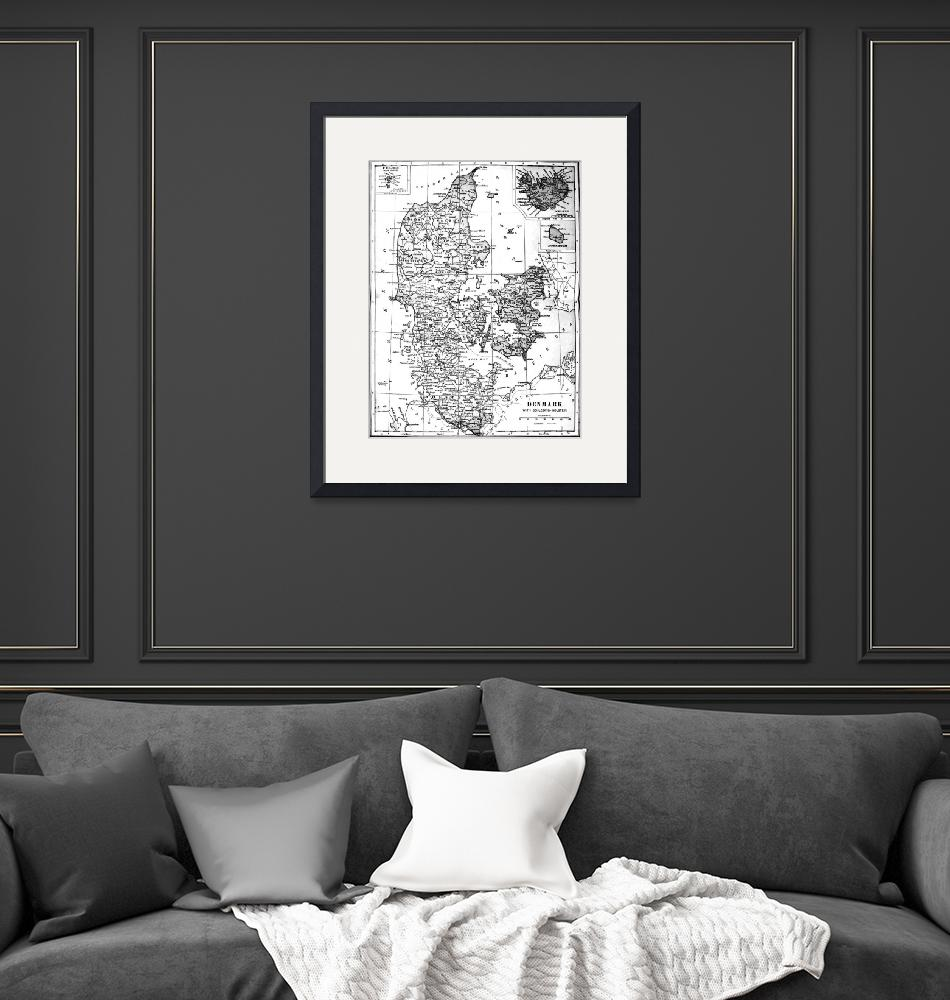 """""""Vintage Map of Denmark (1905) BW""""  by Alleycatshirts"""