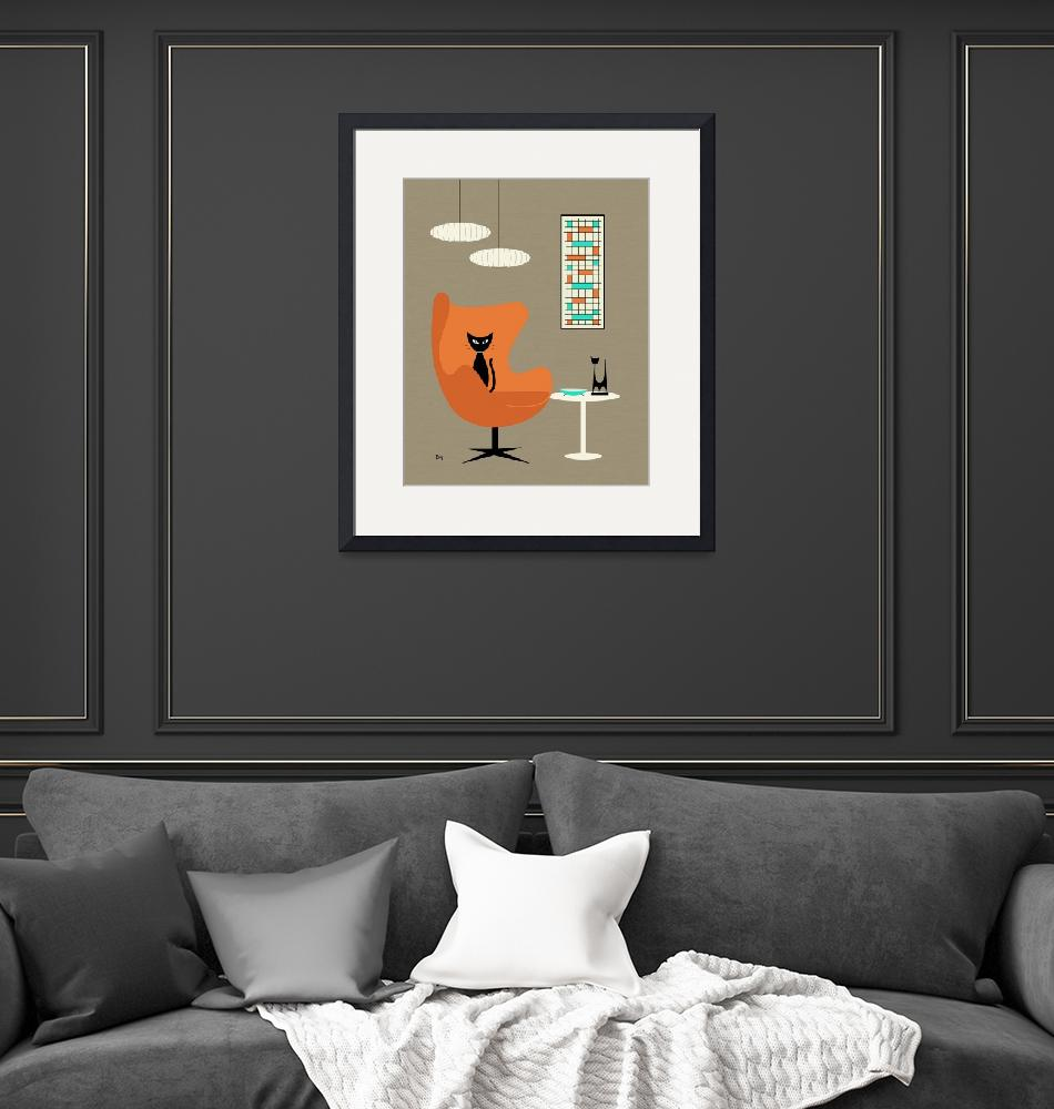 """""""Orange Egg Chair with Mini Abstract""""  by DMibus"""